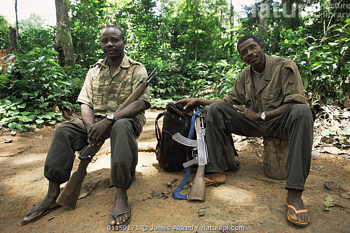 Members of the Wildlife Conservation Society anti-poaching patrol team relaxing with their AK47 and rifle guns beside them, Dzanga-Sanga Bai, Bayanga, Central African Republic, 2003  ,  CENTRAL AFRICA,GUARDS,PEOPLE,POACHING,RESERVE,TROPICAL RAINFOREST,WILDLIFE RANGERS,Africa,SCOTLAND  ,  James Aldred