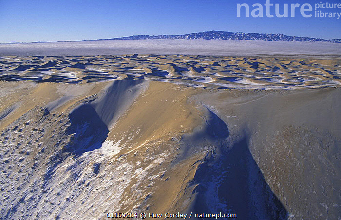 Aerial view of sand dunes with snow, Gobi Desert, Mongolia, January 2004. Filmed for BBC Planet Earth series.  ,  AERIALS,ASIA,DESERTS,GOBI,LANDSCAPES,MONGOLIA,PATTERNS,PLANET EARTH,SAND DUNES,SNOW,WINTER  ,  Huw Cordey
