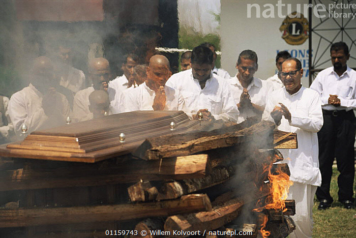 People gathered at Hindu cremation, North Suriname . 2003.  ,  CENTRAL AMERICA,CEREMONIES,CREMATIONS,CULTURES,FUNERALS,PEOPLE,PYRE,RELIGION,RELIGIOUS,SOUTH AMERICA,SURINAM,TRADITIONAL  ,  Willem Kolvoort