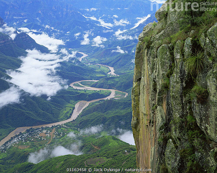 Aerial view of Urique Canyon after summer monsoonal rain, Barranca Del Cobre NP, Chihuahua, Mexico  ,  AERIAL SHOTS,BUILDINGS,CENTRAL AMERICA,CENTRAL AMERICA,CLIFFS,CLOUDS,GREEN,LANDSCAPES,MEXICO,MOUNTAINS,RIVERS,TROPICAL,VALLEYS,VILLAGES,Weather,Geology,CENTRAL-AMERICA,Catalogue1  ,  Jack Dykinga