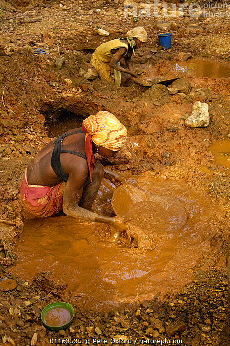 Panning for gold. This mining is now illegal as it takes place in the protected forest of Daraina which is the habitat for the Golden-crowned / Tattersall's sifaka (Propithecus tattersalli) in North-east MADAGASCAR