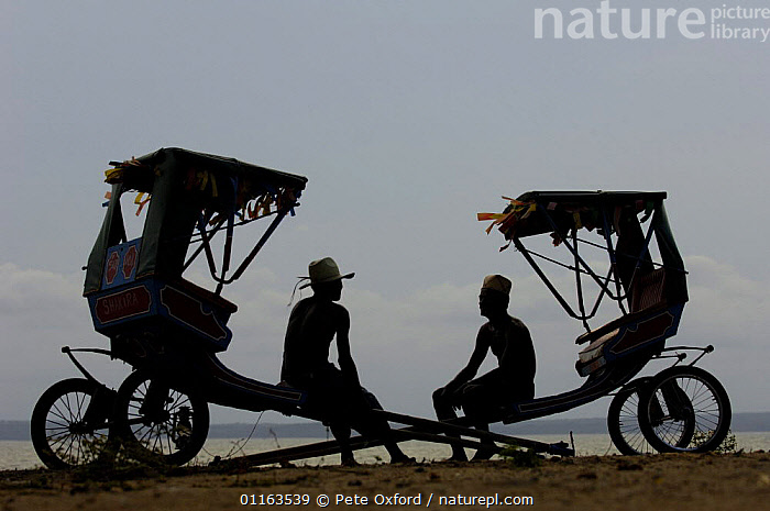 Local rickshaws (Pousse-pousses) introduced to Madagascar by the British missionaries. Majunga Town. NW MADAGASCAR     2005  ,  arty,MADAGASCAR,PEOPLE,Pousse pousse,Rickshaw,SILHOUETTES,Transport,two  ,  Pete Oxford