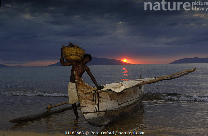Fisherman returns from night fishing in Piroque or outrigger canoe, Ampasendava Village. North eastern MADAGASCAR 2005  ,  BOATS,COASTS,FISH,Fishing,LANDSCAPES,MADAGASCAR,PEOPLE,TRADITIONAL  ,  Pete Oxford