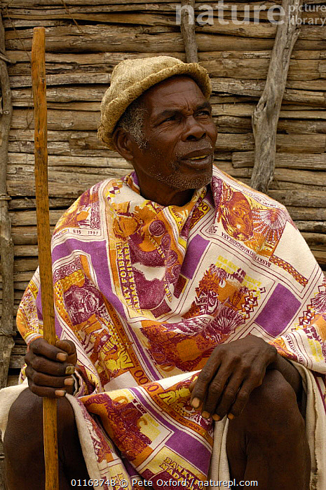 Antandroy man wearing hat made from the pith of cactus pads, sitting outside traditional house made from Didiereacaea plants. Spiny forests of Southern Madagascar    2005  ,  BUILDINGS,MADAGASCAR,PEOPLE,TRADITIONAL,TRIBES,VERTICAL  ,  Pete Oxford