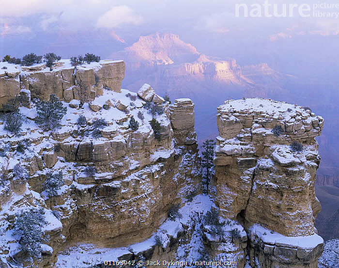 Moran Point, South Rim, Grand Canyon National Park, Arizona, USA with scattering of first winter snow.  ,  CLIFFS,LANDSCAPES,NORTH AMERICA,NP,RESERVE,ROCK FORMATIONS,USA,Geology,National Park  ,  Jack Dykinga
