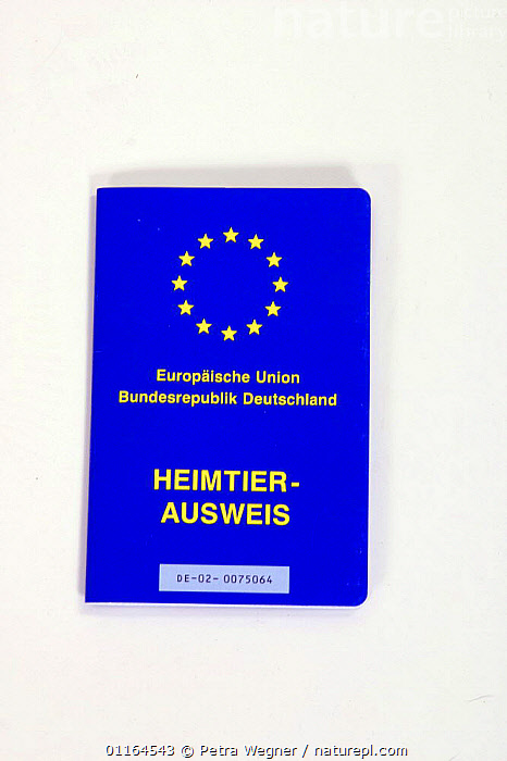 Vaccination card for pets, Germany, CUTOUT,paper,passport,pedigree,PETS,Studio,VERTICAL,Dogs,Canids,Europe, Petra Wegner