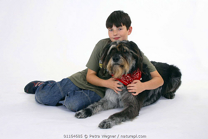 Boy hugging domestic dog, Mixed Breed Dog with neckerchief, AFFECTIONATE,CHILD,CHILDREN,CUTOUT,DOGS,FRIENDS,half breed,lying down,mongrel,mutt,PEOPLE,PETS,scarf,Studio,VERTEBRATES,concepts,Canids, Petra Wegner