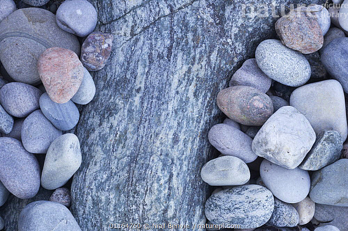 Water-smoothed Lewisian gneiss pebbles on beach, Tiree, Scotland, ARTY SHOTS,BEACHES,BLUE,COASTS,COLD,EROSION,EUROPE,GEOLOGY,ROCKS,stones,UK,United Kingdom,British, United Kingdom, United Kingdom , Inner Hebrides,SCOTLAND, Niall Benvie