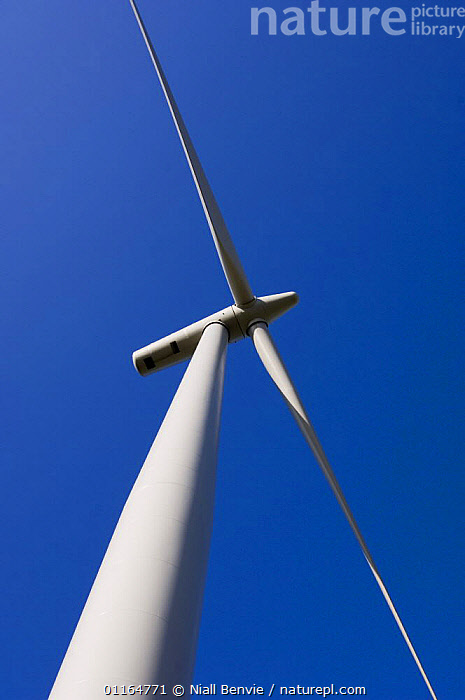 Looking up at the blades of a 2.3 megawatt wind turbine, Scotland UK. May 2006  ,  blades,electricity,ENERGY,EUROPE,high angle shots,power,renewable,SKY,turbines,UK,WIND,United Kingdom,Weather,British ,low angle, United Kingdom, United Kingdom, United Kingdom,Catalogue1  ,  Niall Benvie