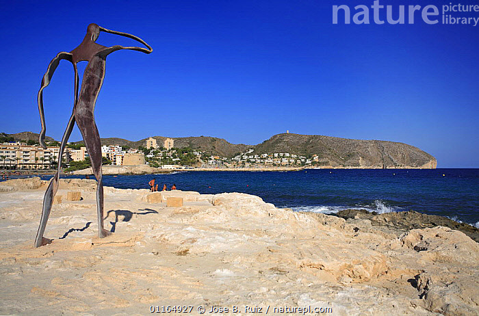 Sculpture of man looking out to sea, L'ampolla beach, Moraira, Teulada, Alicante, Spain.  ,  ART,COASTS,EUROPE,LANDSCAPES  ,  Jose B. Ruiz