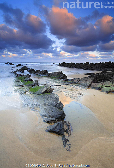 Rocks on Barrika beach, Vizcaya, Basque country, Atlantic coast, Spain, CLOUDS,COASTS,EUROPE,LANDSCAPES,ROCKS,SEA,SKY,VERTICAL,Weather, Jose B. Ruiz