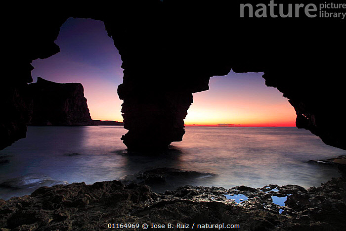 Cueva de los Arcos at sunset, Benitachell, Alicante, Spain, ARTY SHOTS,CAVES,COASTS,EUROPE,LONG EXPOSURE,MEDITERRANEAN,ROCK FORMATIONS,ROCKS,SEA,SILHOUETTES,SUNSET,Geology, Jose B. Ruiz