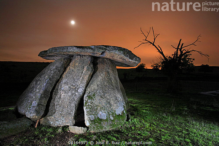 Dolmen (megalithic tomb) at night with moon, C�ceres, Extremadura, Spain  ,  ANCIENT,EUROPE,NEOLITHIC,NIGHT,ROCKS,SPAIN,STONES  ,  Jose B. Ruiz
