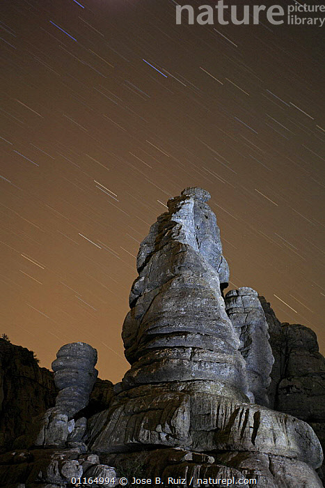 Rock formation with night sky, Torcal de Antequera, Malaga, Spain  ,  EUROPE,NIGHT,ROCK FORMATIONS,ROCKS,SPAIN,STARS,VERTICAL,Geology  ,  Jose B. Ruiz