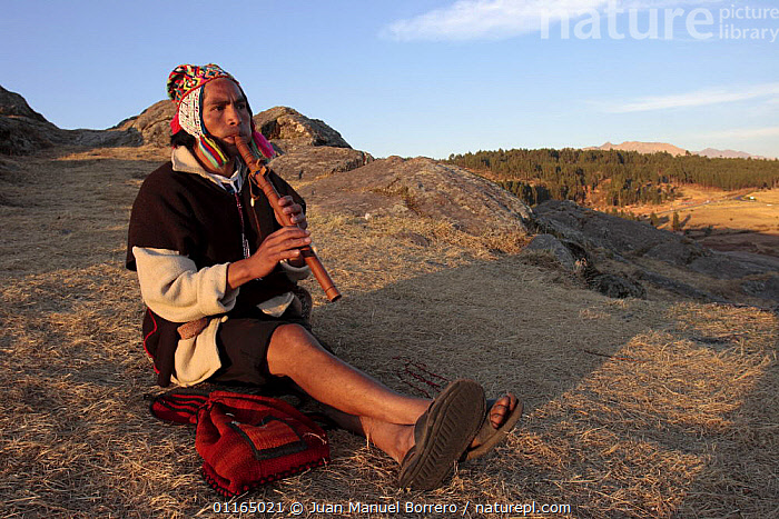 Local indian playing the quena flute in the ruins of Sacsayhuaman, Cusco, Peru 2006., ANDES,CULTURES,LANDSCAPES,MUSIC,PEOPLE,PERU,SOUTH AMERICA,SOUTH-AMERICA, Juan Manuel Borrero