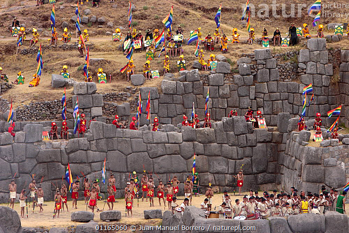 Indian men and women performing an Inca initiation ceremony, Warachikuy festival, Archaeological Park of Sacsayhuaman, Cusco, Peru 2006., ANDES,CEREMONIES,CULTURES,FESTIVALS,PEOPLE,RUINS,SOUTH AMERICA,SOUTH-AMERICA, Juan Manuel Borrero