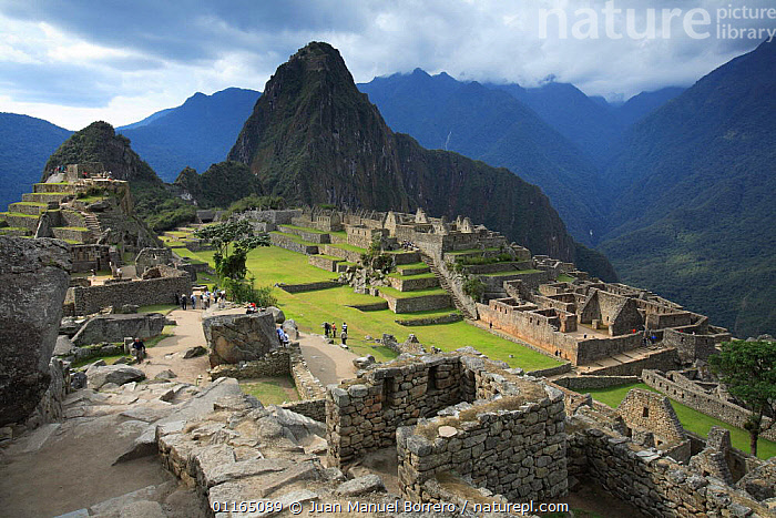 Inca ruins, Huuauna Picchu in background, Machu Picchu, Peru  2006.  ,  ANCIENT,ANDES,BUILDINGS,CENTRAL AMERICA,CIVILIZATIONS,CULTURES,LANDSCAPES,MOUNTAINS,RUINS,SOUTH AMERICA,SOUTH-AMERICA  ,  Juan Manuel Borrero