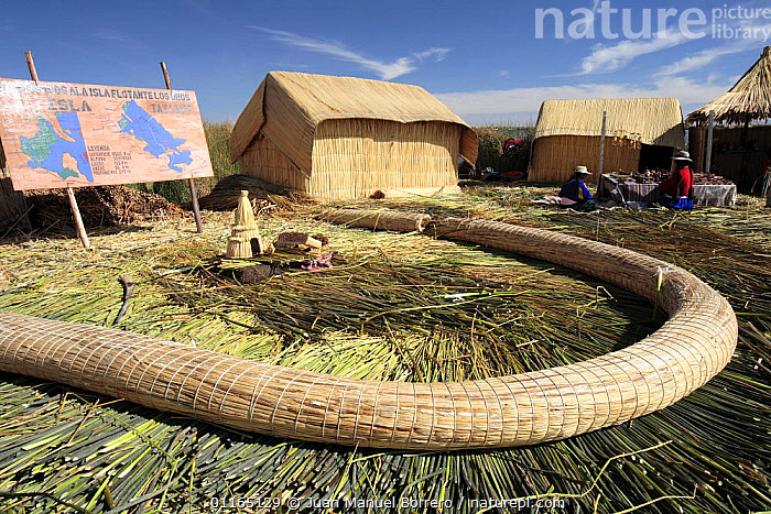 Huts and gathering site on Uros Floating reed Islands, Lake Titicaca, Peru 2006., ANDES,CULTURES,HOMES,PEOPLE,SOUTH AMERICA,TRADITIONAL,TRIBES,SOUTH-AMERICA, Juan Manuel Borrero