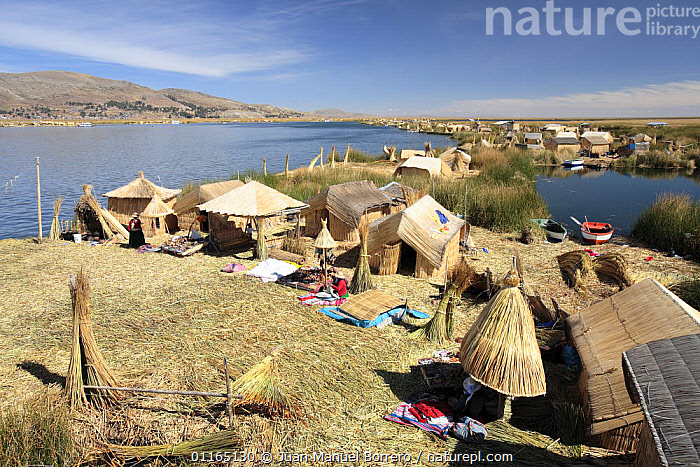 Huts on Uros Floating reed Islands, Lake Titicaca, Peru 2006., ANDES,CENTRAL AMERICA,CULTURES,HOMES,LAKES,LANDSCAPES,SOUTH AMERICA,TRADITIONAL,TRIBES,VILLAGES,SOUTH-AMERICA, Juan Manuel Borrero