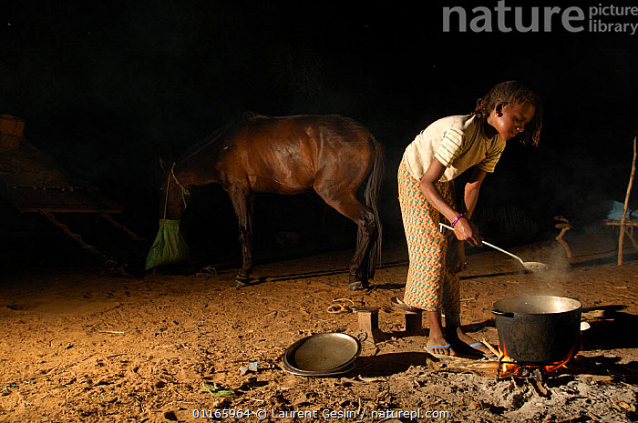 Fulani woman cooking at night, horse in background, North Senegal, West Africa, 2005  ,  FIRE,FOOD,LIVESTOCK,PEOPLE,TRIBES,WEST AFRICA,WOMEN,Africa,WEST-AFRICA,Catalogue1F  ,  Laurent Geslin