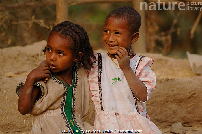 Two children from the black jewish community, Goodhar, North Ethiopia, most jews returned to Israel in the Salomon Operation, 1991, but some remained., 2006  ,  CHILDREN,EAST AFRICA,PEOPLE,Africa,EAST-AFRICA,Catalogue1F  ,  Laurent Geslin