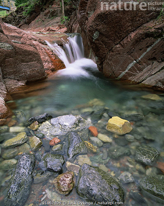 Water worn rocks in Redrock Canyon, Waterton Lakes National Park, Canada  ,  blur,CANADA,canyons,EROSION,NORTH AMERICA,NP,RED,RIVERS,VERTICAL,National Park , blurred  ,  Jack Dykinga