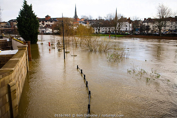 River Severn overflowing its banks in Shrewsbury, Shropshire, UK, winter 2006/7  ,  CITIES,EUROPE,FLOOD,FLOODING,FLOODS,GLOBAL WARMING,UK,WEATHER,United Kingdom,British,ENGLAND, United Kingdom, United Kingdom  ,  Ben Osborne