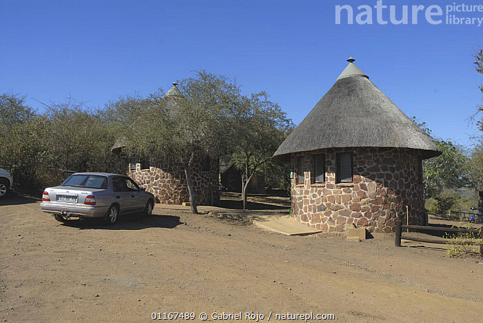 Thatched huts at tourist camp in Kruger National Park, South Africa  ,  BUILDINGS,HUTS,LANDSCAPES,RESERVE,SOUTHERN AFRICA,TOURISM,VEHICLES  ,  Gabriel Rojo