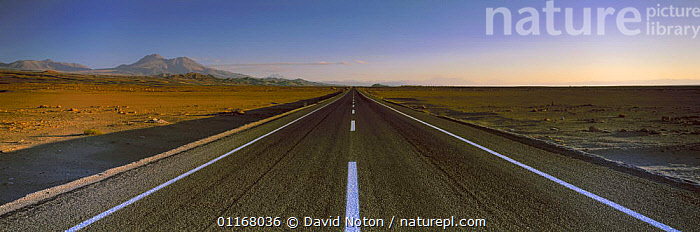 The road to Socaire, Atacama Desert, northern Chile  ,  DESERTS,EMPTY,HORIZON,LANDSCAPES,PANORAMIC,ROADS,SOUTH AMERICA,SUNSET,TRAVEL,SOUTH-AMERICA  ,  David Noton