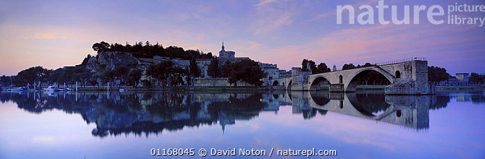 Pont de Bezenet, the River Rhone & Palais de Papes at Avignon, Provence, France  ,  DAWN,EUROPE,FRANCE,HISTORIC,LANDSCAPES,PANORAMIC,PROVENCE,REFLECTIONS,RIVERS,WATER  ,  David Noton