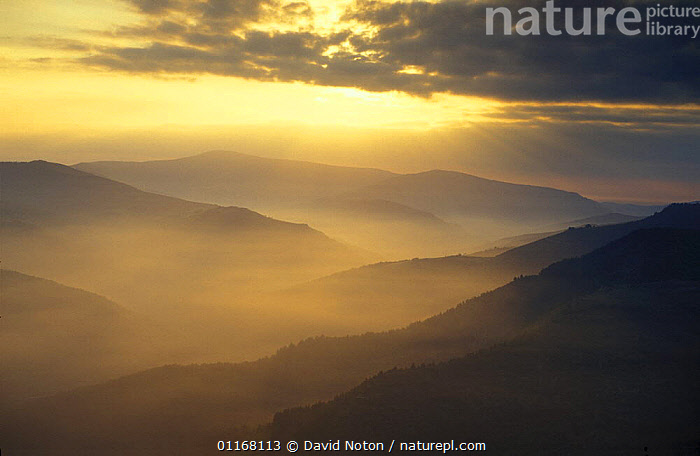 Dawn over the  Cevennes, France  ,  CLOUDS,DAWN,EUROPE,FORESTS,HORIZONTAL,LANDSCAPES,MIST,MOUNTAINS,PEACEFUL,SUNRISE,SUNSET,VALLEYS,Concepts,Weather  ,  David Noton