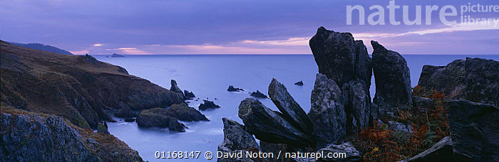 Dawn on the cliffs above Warren Cove with the Dancing Beggars and the Mew Stone beyond, nr Dartmouth, South Devon, England, UK  ,  COASTS,DAWN,EUROPE,LANDSCAPES,PANORAMIC,ROCK FORMATIONS,ROCKS,UK,WATER,United Kingdom,Geology,British,ENGLAND, United Kingdom, United Kingdom, United Kingdom  ,  David Noton