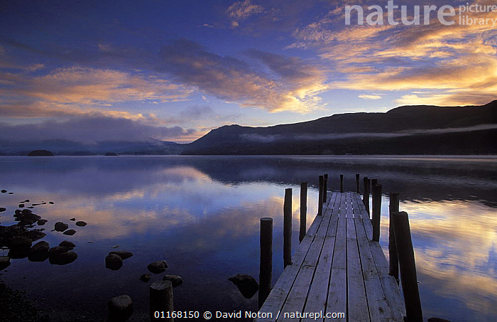 Derwentwater at dawn, Brandelhow Bay, Lake District National Park, Cumbria, England, UK  ,  CLOUDS,EUROPE,JETTY,LAKES,LANDSCAPES,PEACEFUL,REFLECTIONS,SUNRISE,UK,WATER,United Kingdom,Concepts,Weather,British,ENGLAND  ,  David Noton
