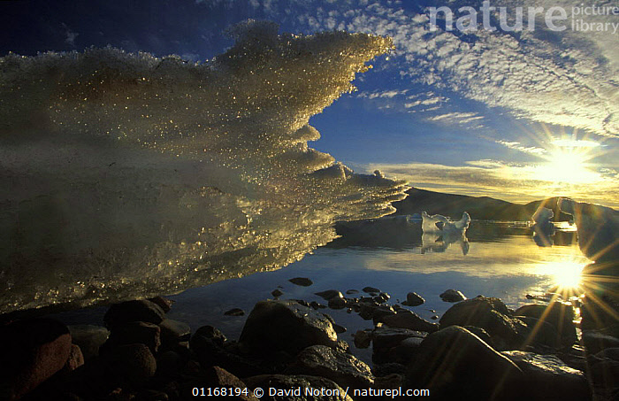 Ice Detail, Alexandra Fjord, Ellesmere Island, Canada  ,  CANADA,CLOUDS,COASTS,ICE,LANDSCAPES,NORTH AMERICA,REFLECTIONS,ROCKS,SUNSET,WATER,Weather  ,  David Noton