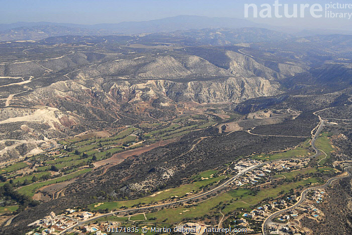 Aerial view of Troodos Mountains, Western Cyprus  ,  AERIALS,DEVELOPMENT,EUROPE,HOUSES,LANDSCAPES,ROADS,TRODOS  ,  Martin Gabriel