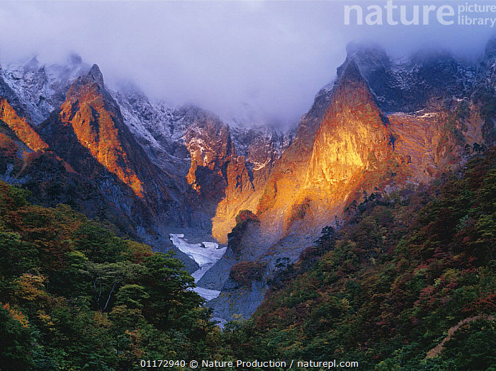 Mt. Tanigawadake in early winter, Gumma, Japan, ASIA,JAPAN,LANDSCAPES,LIGHT,MOUNTAINS,SUNLIGHT,VALLEY,VALLEYS, Nature Production