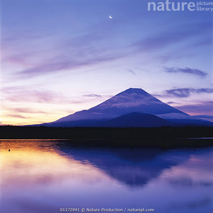 Mt. Fuji reflected in Lake Kawaguchi with moon above, Yamanashi, Japan, ASIA,JAPAN,LAKES,LANDSCAPES,MOUNTAINS,REFLECTIONS, Nature Production