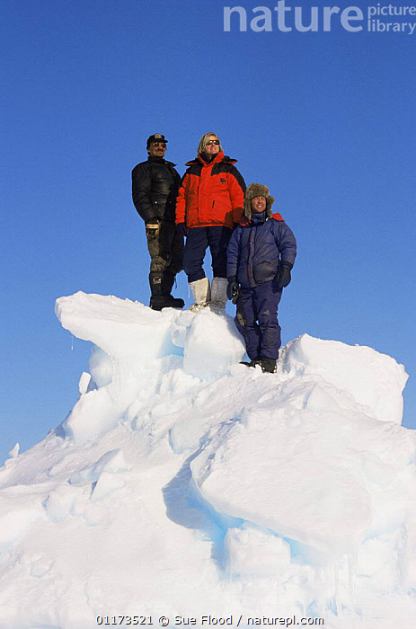 Martha Holmes, Doug Allan and Nat Kalluk (Inuit guide) in Canadian Arctic, May 1998, while filming for BBC NHU Blue Planet., CANADA,GROUPS,PEOPLE,PORTRAITS,PRESENTER,SNOW,SUMMER,THREE,VERTICAL,North America, Sue Flood