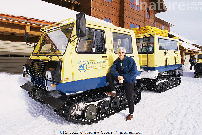 Andrew Cooper, Producer, beside snow buggy at Old Faithfull, Yellowstone NP, Wyoming, USA, January 1999, filming for BBC NHU programme, FILMING IN WILD,NORTH AMERICA,PEOPLE,PORTRAITS,RESERVE,SNOW,USA,VEHICLES,WINTER, Andrew Cooper