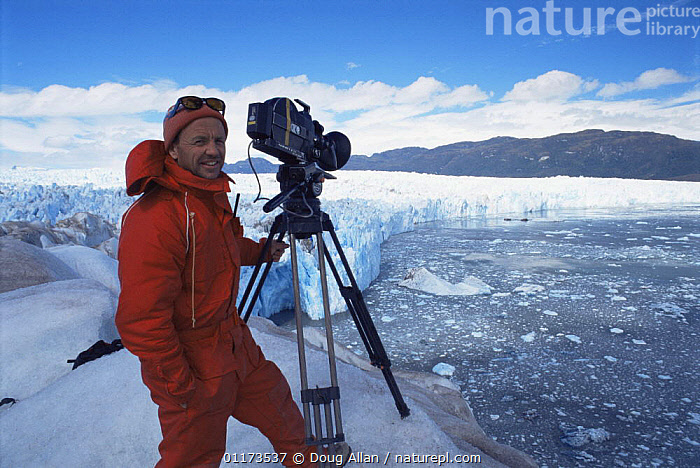 Doug Allan filming at the glacier front of Piu XI Glacier for BBC NHU 'The Blue Planet'. South Chile, 1997, CAMERA,CHILE,FILMING IN WILD,GLACIERS,ICE,LANDSCAPES,PEOPLE,SOUTH AMERICA,Geology, Doug Allan