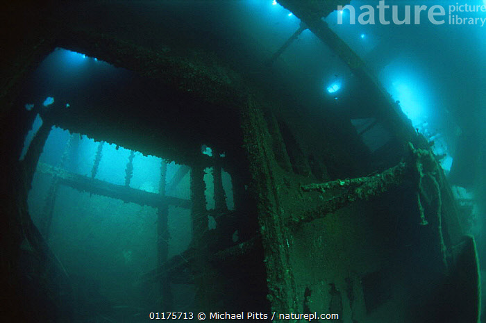 Interior of shipwreck of Japanese Whaling Ship sunk in WWII, 1943, Borneo  ,  BOATS,MARINE,TROPICAL,UNDERWATER,WRECK,WRECKS,SOUTH-EAST-ASIA , HISTORICAL,Asia,Catalogue1  ,  Michael Pitts