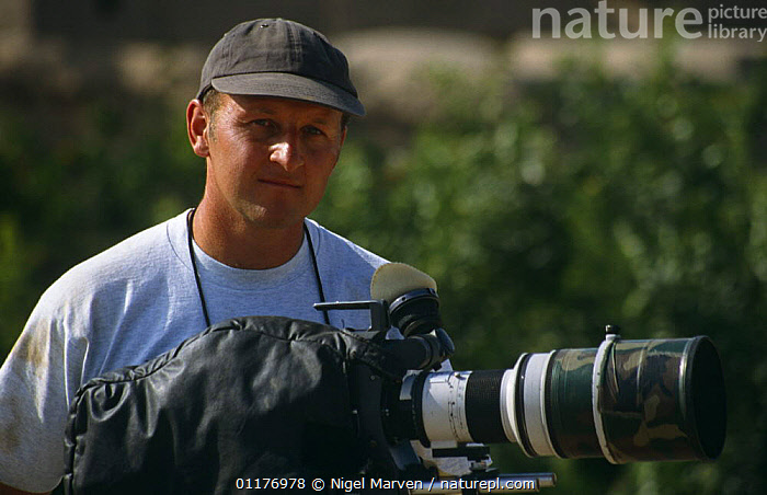 """Cameraman Gavin Thurston on location in Iran, filming for BBC television series """"Nature of Iran"""", 1996  ,  CAMERA,CAMERAS,FILMING IN WILD,MIDDLE EAST,PEOPLE,PORTRAITS  ,  NIGEL MARVEN"""