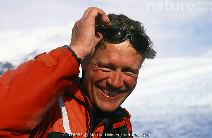 "Cameraman Shane Moore on location in Antarctica, filming for BBC television programme ""Blue Planet"", May 1997  ,  ANTARCTICA,BBC,FILMING,ICE,NHU,PEOPLE,PORTRAITS  ,  Martha Holmes"