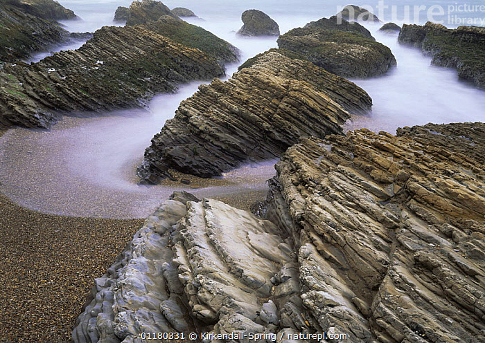 Long exposure of  surging tide on the beach at Spooner's Cove, Montana De Oro State Park, California, USA, ATMOSPHERIC,BEACHES,COASTS,EROSION,LANDSCAPES,NORTH AMERICA,NORTH AMERICA,PACIFIC,RESERVE,ROCK FORMATIONS,ROCKS,TIDES,USA,WATER,Geology, Kirkendall-Spring