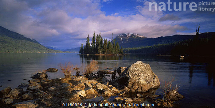 Morning at Lake Wenatchee, Lake Wenatchee State Park, Washington, USA, CLOUDS,LAKES,LANDSCAPES,MOUNTAINS,NORTH AMERICA,NORTH AMERICA,PEACEFUL,RESERVE,ROCKS,TREES,USA,WATER,Concepts,Weather,Plants, Kirkendall-Spring