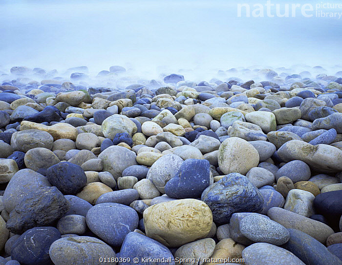 Misty cobblestone beach at Thornhill State Beach, California, USA, ATMOSPHERIC,BEACHES,BOULDERS,COASTS,EROSION,LANDSCAPES,MISTY,NORTH AMERICA,NORTH AMERICA,PEBBLES,RESERVE,ROCKS,USA, Kirkendall-Spring