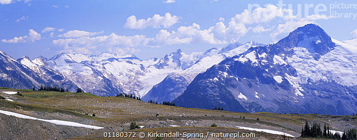 Snow topped McBride Mountain Range, Garibaldi Provincial Park, British Columbia, Canada  ,  CANADA,CLOUDS,LANDSCAPES,MOUNTAINS,NORTH AMERICA,NORTH AMERICA,PANORAMIC,RESERVE,SNOW,Weather  ,  Kirkendall-Spring