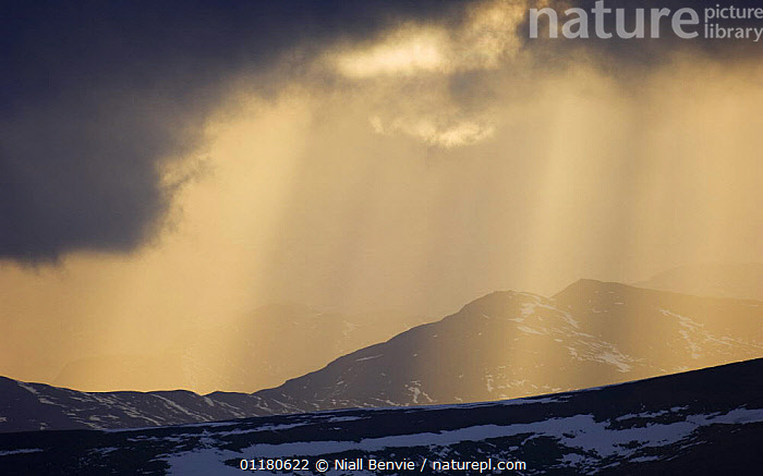 Sun shining though clouds, Grampian mountains, February, Glenshee, Scotland, UK, ATMOSPHERIC,CLOUDS,EUROPE,LANDSCAPES,MOUNTAINS,SNOW,UK,WEATHER,WINTER,United Kingdom,British,SCOTLAND, Niall Benvie