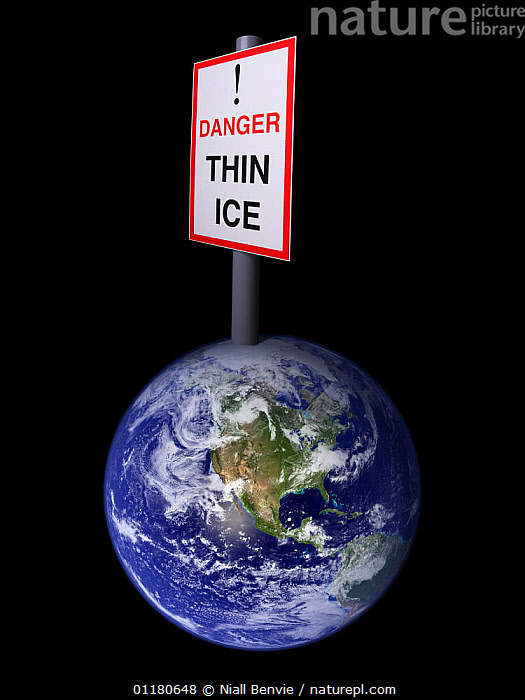 "A conceptual picture of Global warming illustrated through a model of the earth with a sign at the North Pole saying ""Danger, Thin Ice""., ARCTIC,CLIMATE CHANGE,CONCEPTS,ENVIRONMENTAL,ICE,PLANETS,POLAR,Catalogue1, Niall Benvie"
