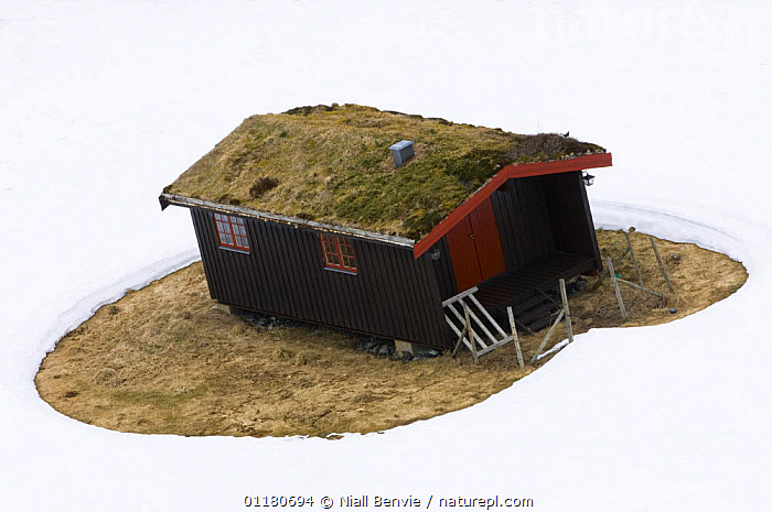 The case for house insulation - Cabin with melted snow around it illustrating the need for heat insulation, Norway 2007, BUILDINGS,ENERGY,ENVIRONMENTAL,EUROPE,NORWAY,SCANDINAVIA,SNOW,WINTER, Scandinavia, Niall Benvie